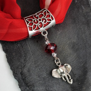 Hand-crafted Scarf Ring Pendant Slider, Silver Tone Elephant with Red Crystal Beading