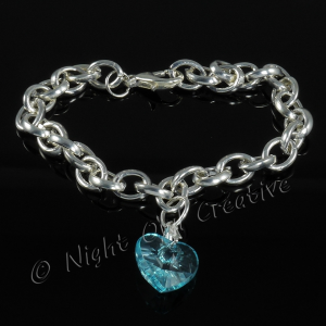 Silver Plated Single Heart Charm Bracelet - Aqua