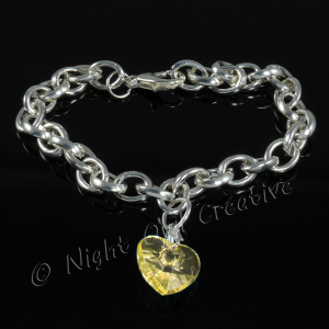 Silver Plated Single Heart Charm Bracelet - Lemon