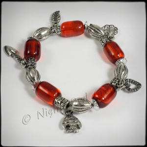 Antique Silvertone Beaded Stretch Charm Bracelet Dark Red