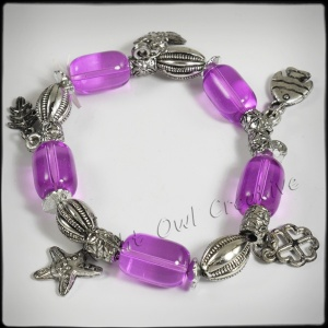 Antique Silvertone Beaded Stretch Charm Bracelet Fuchsia