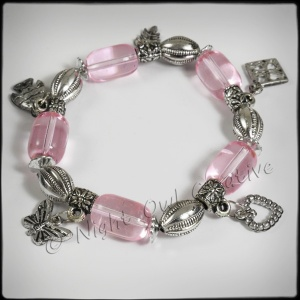 Antique Silvertone Beaded Stretch Charm Bracelet Soft Pink