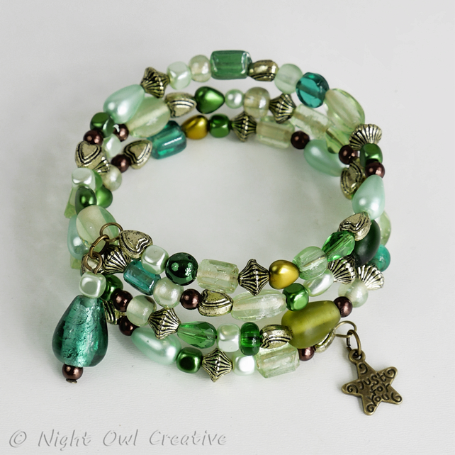 glass bead soup memory wire bracelet green mix
