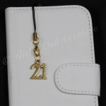 ''21'' Goldtone Mobile Phone Charm for Smartphone, iPhone, Samsung, HTC etc