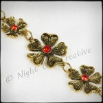 Antique Bronze Jewelled Flower Bracelet