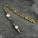 Beaded Bookmark, Freshwater Pearls, Glass, Antique Bronze Finish