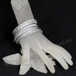 Ethnic Bangle Set Frosted Silver - Size Small