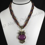 Beaded Rope Necklace with Owl Pendant Purple