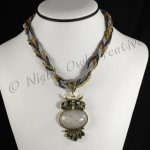 Beaded Rope Necklace with Owl Pendant Silver Grey
