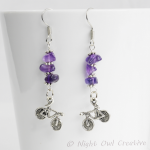 Bicycle Earrings, Amethyst Gemstone Nuggets, Silver Plated Earwires