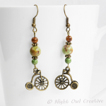 Bicycle Earrings, African Opal Gemstone, Antique Bronze Penny Farthing Charm