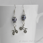Bicycle Earrings, Freshwater Pearls, Tibetan Silver Bicycle Charm