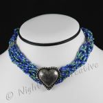 Multi-Strand Beaded Choker - Blue Green with Pewter tone 3D Heart