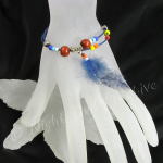 Boho Cord and Bead Bracelet with Feather