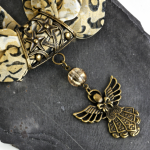 Hand-crafted Scarf Ring Pendant, Antique Bronze Angel with Crackle Glass Beading