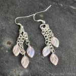 Dangle Earrings Pink Iridescent Czech Glass on Silver Plated Earwires