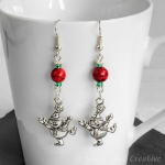 Dangle Earrings Dancing Snowmen Silver, Red Magnesite, Green Glass Beaded