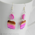 Natural Shell Earrings, Handmade, Pink, Coffee, Silver Plated Fittings