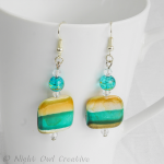 Natural Shell Earrings, Handmade, Teal, Toffee, Silver Plated Fittings