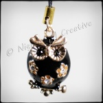 Black Enamelled Owl 3D Phone Charm for Smartphones, iPhone, Samsung, etc