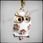 White Enamelled Owl 3D Phone Charm for Smartphones, iPhone, Samsung, etc