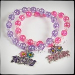 Girls Beaded ''Friends'' Stretch Bangles with Charm - Pink Lilac