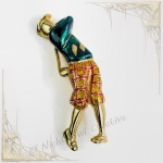 Golfer Brooch Pin, Golf Player, Gold Plated, Enamelled