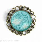 Turquoise Hand Painted and Glazed Antique Bronze Brooch Pin