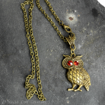 Cute Owl Pendant Necklace Antique Bronze, Austrian Crystal Red Eyes