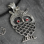 Large Owl Pendant Necklace Silver Tone, Austrian Crystal Red Eyes