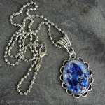 Sparkling Blue Pendant Necklace, Crystal Resin, Antique Silver Tone