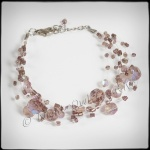 Illusion Beaded Bracelet - Silver and Smoke Pink