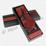 Gents Tie Gift Set Red/Black