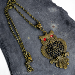 Large Owl Pendant Necklace Antique Bronze, Austrian Crystal Red Eyes