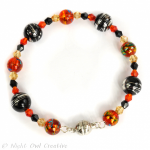 Glass and Crystal Memory Wire Bracelet - Black Fire