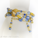 Memory Wire Bracelet and Earrings Set, Blue, Yellow, Gold