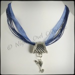 2-way Martini Glass Pendant Necklace & Scarf Ring - Dark Blue