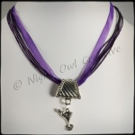 2-way Martini Glass Pendant Necklace & Scarf Ring - Purple