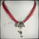 2-way Martini Glass Pendant Necklace & Scarf Ring - Claret Red