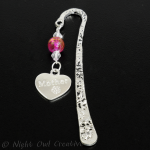 Mother Bookmark - Hot Pink Glass Beaded - Crystals - Antique Silver Tone