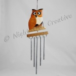 Handcrafted Wooden Owl Windchimes - Claude
