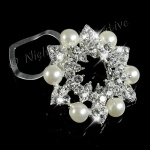Scarf Ring, Clip, Shawl Holder, Pearl with Sparkling Crystal, Silver Garland