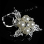 Bouquet Scarf Clip, Ring, Sparkling Crystal with Pearls, Statement Piece