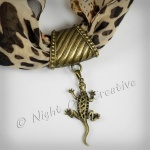 Hand-crafted Scarf Ring, Pendant Slider, Antique Bronze Lizard