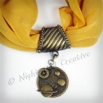 Hand-crafted Scarf Ring, Pendant Slider, Steampunk Celestial
