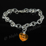 Silver Plated Single Heart Charm Bracelet - Amber