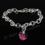 Silver Plated Single Heart Charm Bracelet - Hot Pink