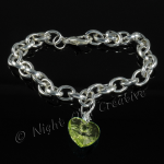 Silver Plated Single Heart Charm Bracelet - Lime