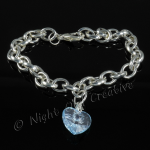 Silver Plated Single Heart Charm Bracelet - Pale Blue