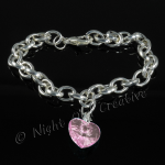 Silver Plated Single Heart Charm Bracelet - Light Pink
